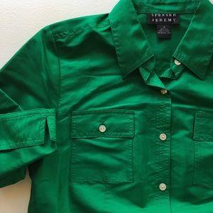 Spenser Jeremy Green Silk button down size S